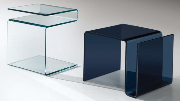 hot bent glass end table